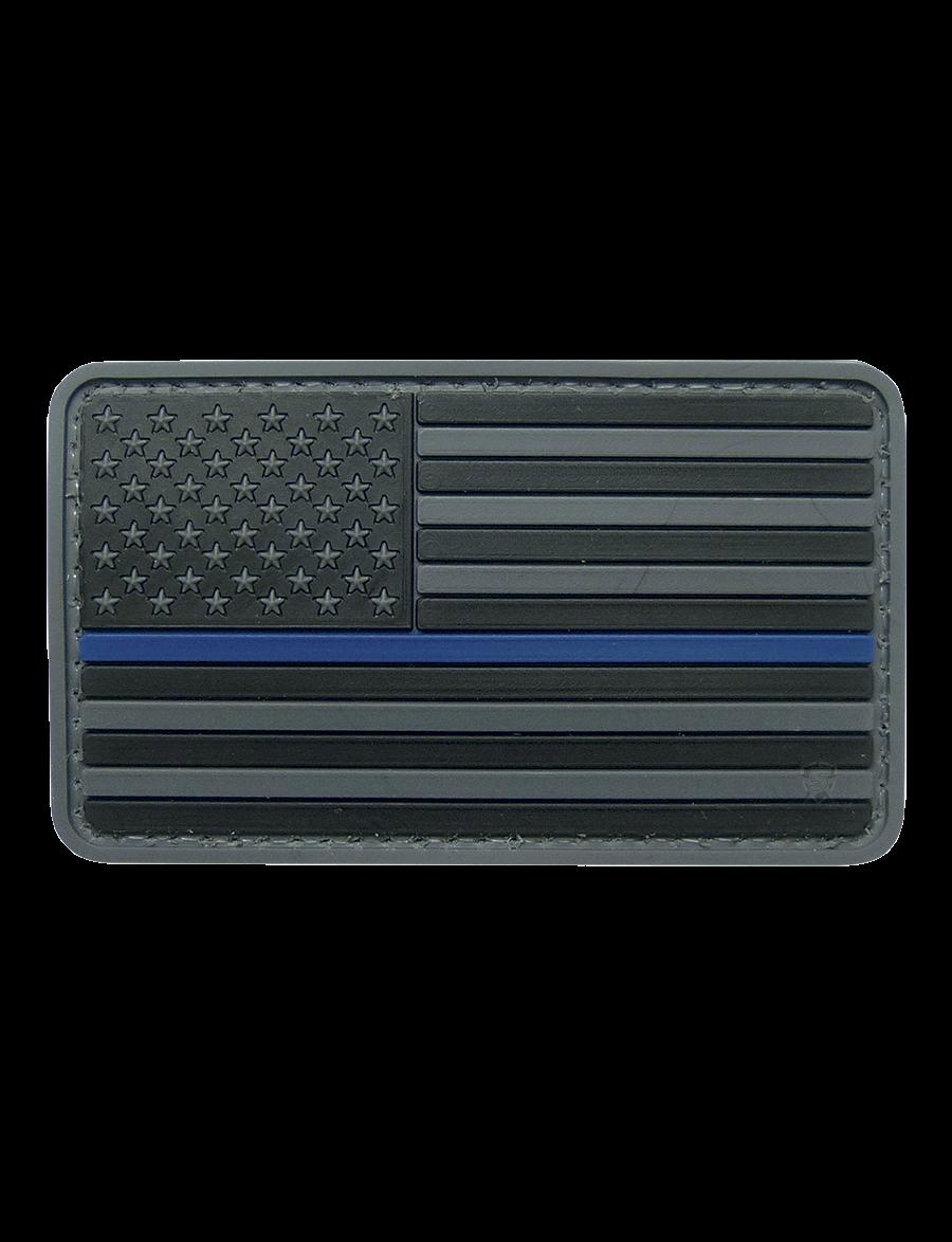U.S. FLAG BLACK W/BLUE STRIPE MORALE PATCH