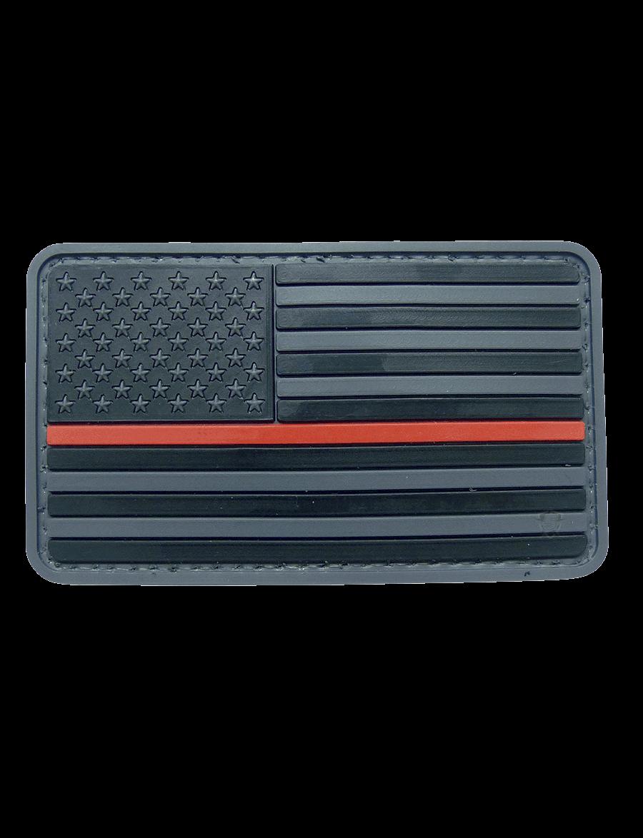 U.S. FLAG BLACK W/RED STRIPE MORALE PATCH